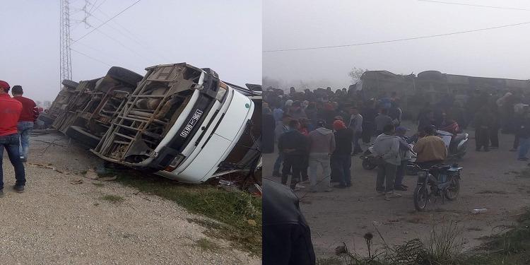 حصيلة ضحايا حادث إصطدام حافلتين لنقل العاملات بالمنستير
