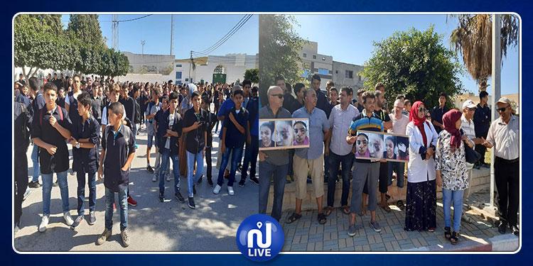 طبلبة : وقفة إحتجاجية لأولياء تلميذة دهستها ''فيسبا'' أمام المعهد(صور)
