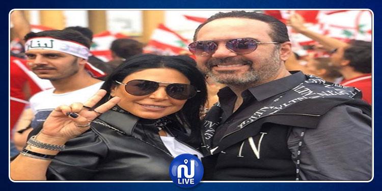 وائل جسار وزوجته  يشاركان في احتجاجات لبنان(فيديو)
