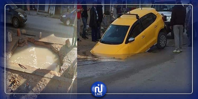 سوسة: ''تاكسي'' تسقط في حفرة و البلدية توضح (صور)