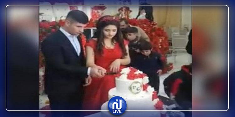 عريس غاضب يحدث حالة من الفوضى في حفل زفافه(فيديو)