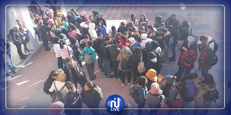 احتجاج تلاميذ الوسلاتية ضد أستاذ متحرش