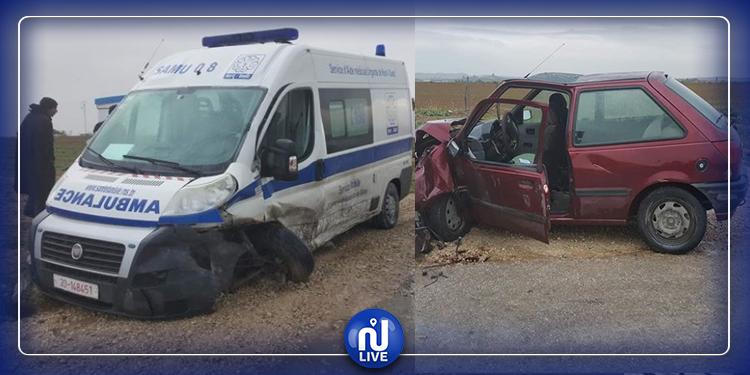 سليانة: اصطدام بين سيارة إسعاف وسيارة خفيفة
