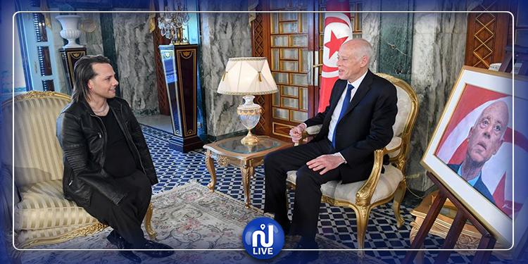 رئيس الجمهورية يستقبل الفنان  الشاب أشرف النمري