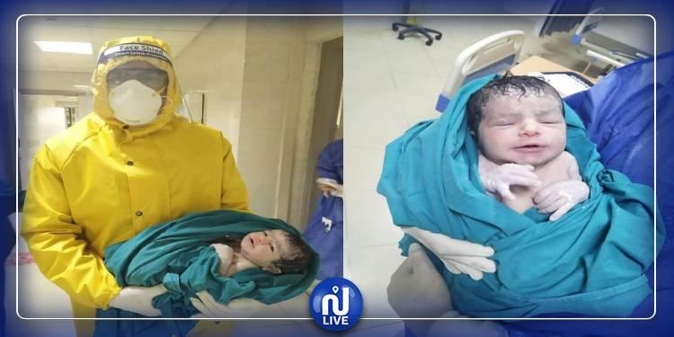 مصابتان بكورونا تضعان مولودان(صور)