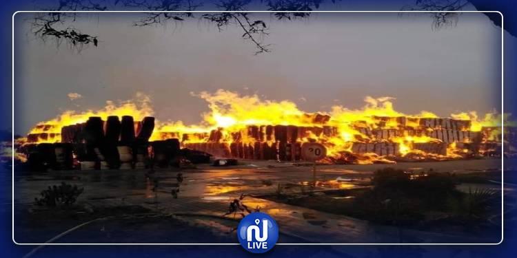 شاحنات اطفاء من 5 ولايات تشارك في اخماد حريق مصنع النفيضة