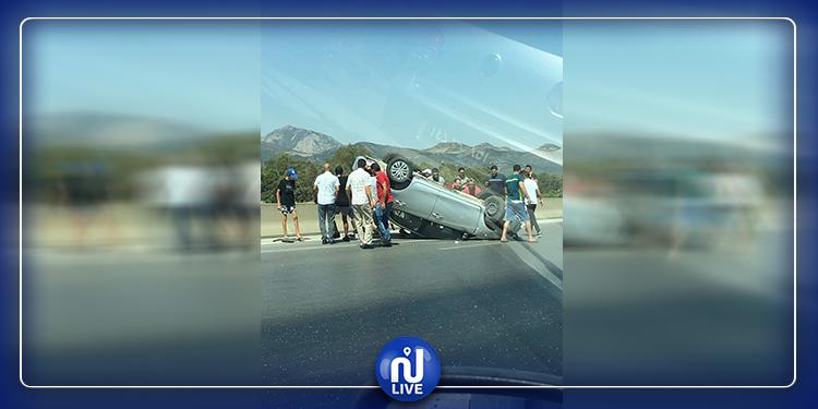انقلاب سيارة على الطريق السريعة تونس الحمامات