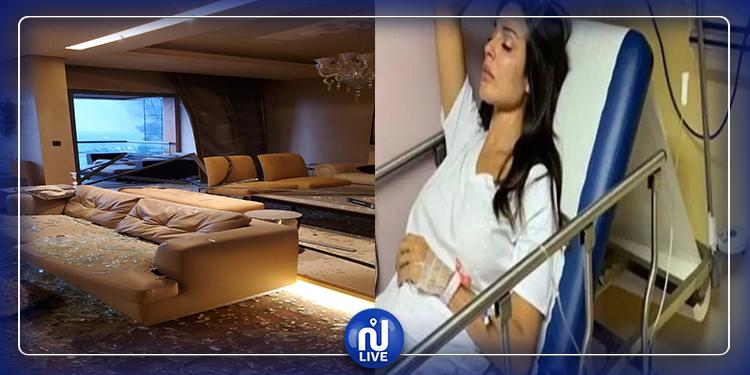 نادين نجيم تنشر لحظة تضرر منزلها من انفجار بيروت(فيديو)