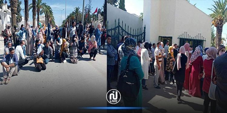 تحرك احتجاجي للمعلمين النواب  أمام مقر ولاية جندوبة