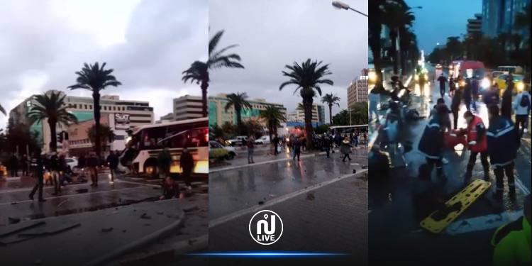 فيديو من مكان حادث اصطدام الحافلتين بشارع محمد الخامس(فيديو)