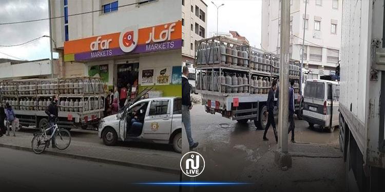 القيروان: حضور امني أثناء توزيع قوارير الغاز(صور)