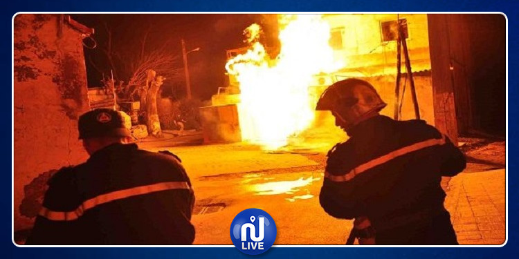 سليانة : حريق هائل بمحل عشوائي لبيع البنزين المهرب