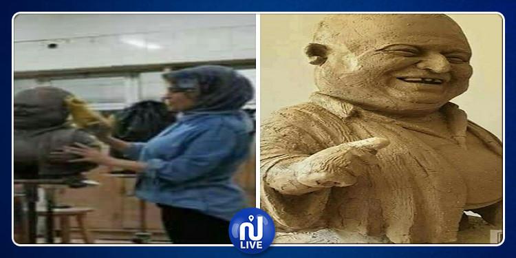 فنانة مصرية تنحت تمثالاً للراحل سفيان الشعري (صور)