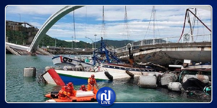 انهيار جسر في تايوان:  12 جريحا و 6 مفقودين وغرق ناقلة نفط