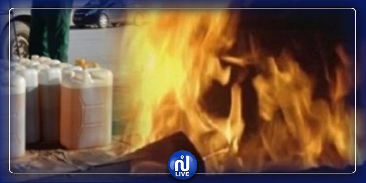 سيدي بوزيد : إصابة 24 شخصا في حريق داخل محل خاص ببيع البنزين المهرّب