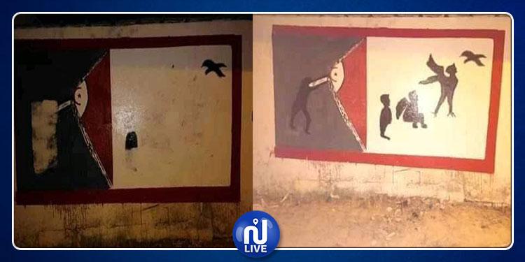 بوعرقوب: للمرة الثانية.. تشويه لوحة جدارية تمّ رسمها خلال حملة النظافة