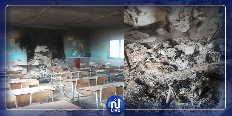 سكرة: مجهولون يحرقون أحد الأقسام بمدرسة (صور)