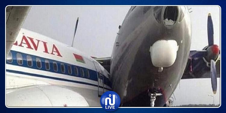 ألمانيا: اصطدام طائرتين بمطار فرانكفورت(صور)