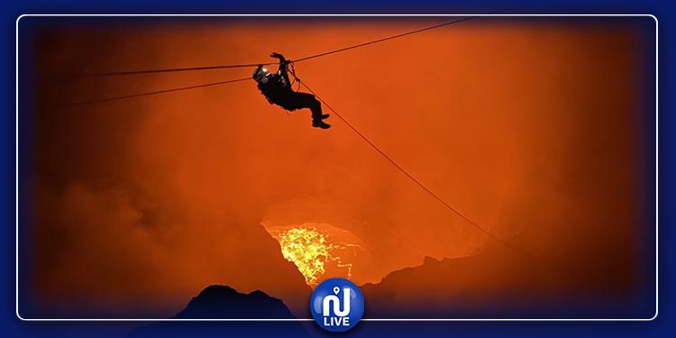 مغامر عربي يمر فوق بركان نشط ! (صور)