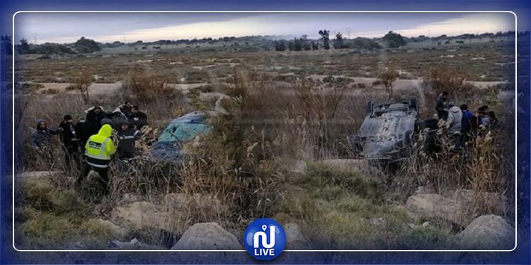 إصابة رجل وامرأة حامل في انقلاب سيارة بالقيروان