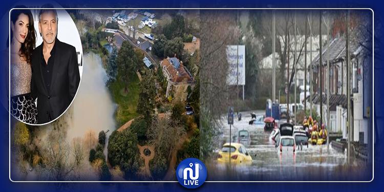 بريطانيا: الإعصار''دينيس'' يغمر بالمياه قصر جورج كلوني