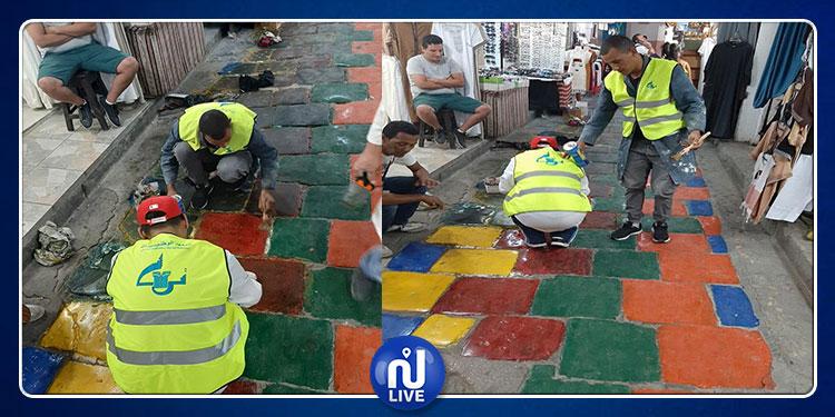معهد التراث يتدخّل ويزيل الألوان من أنهج المدينة العتيقة