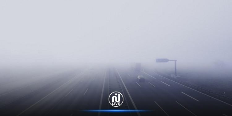 ضباب كثيف يحجب الرؤية عن هذه الطريق السيارة