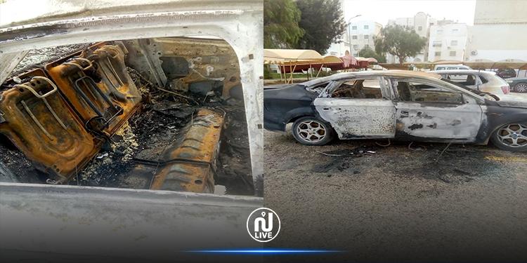 حرق سيارة إدارية على ملك بلدية سكرة (صور)