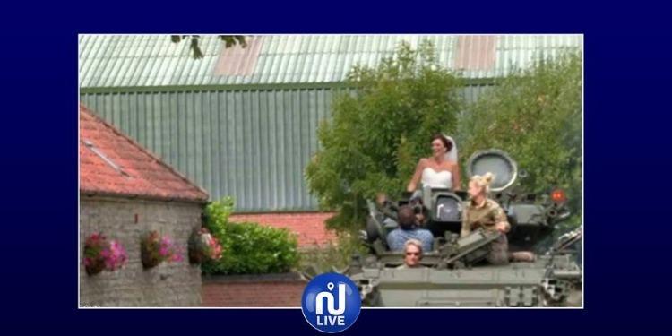 حفل زفاف على ظهر دبابة!