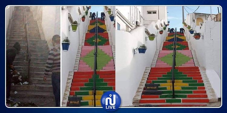 بسحر الألوان.. مواطنون يعيدون الحياة لمدرج مونفلوري (صور)
