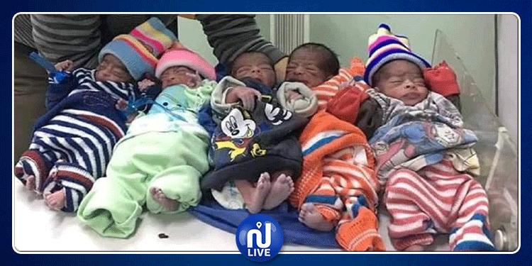 في حالة ولادة نادرة....امرأة تنجب 5 توائم