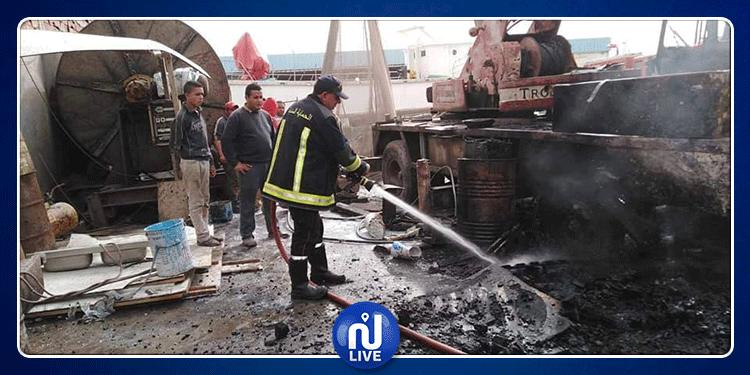 المنستير: حريق بميناء طبلبة (صور)