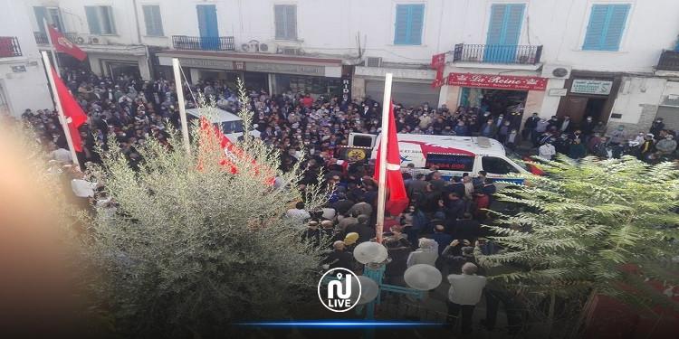 ساحة محمد علي:النقابيون يودعون الفقيد  بوعلي المباركي (فيديو)