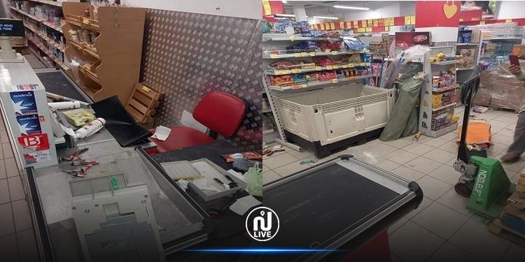 خلع وسرقة محتويات مساحة تجارية كبرى بالمحمدية (صور)