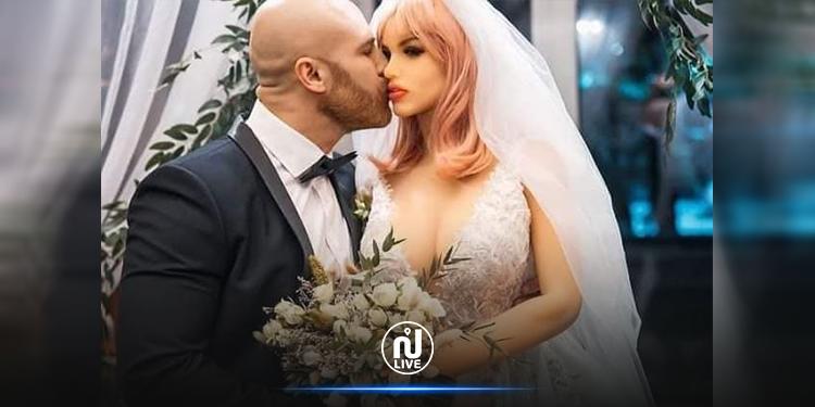 لاعب كمال أجسام  كازاخستاني  يحتفل بزواجه من دمية (صور)