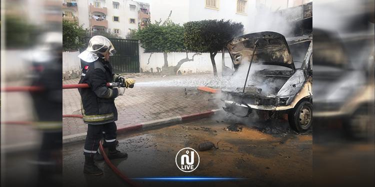 المروج: اندلاع حريق في شاحنة لنقل البضائع