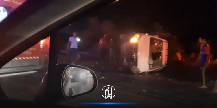 حادث مرور  مریع بالطریق السیارة تونس الحمامات