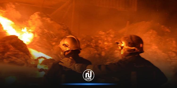 حريق بمستودع مواد قابلة للاشتعال في دبي