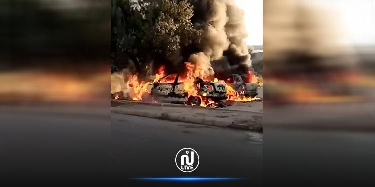 حرق سيارات الحرس الوطني بطبلبة: نشوب النيران في الفاعل وهروبه (فيديو)