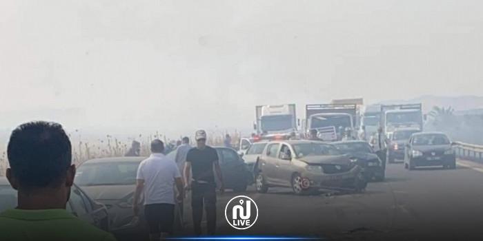 بسبب دخان حريق: اصطدام 8 سيارات في بالطريق السيارة بنزرت و تسجيل إصابات