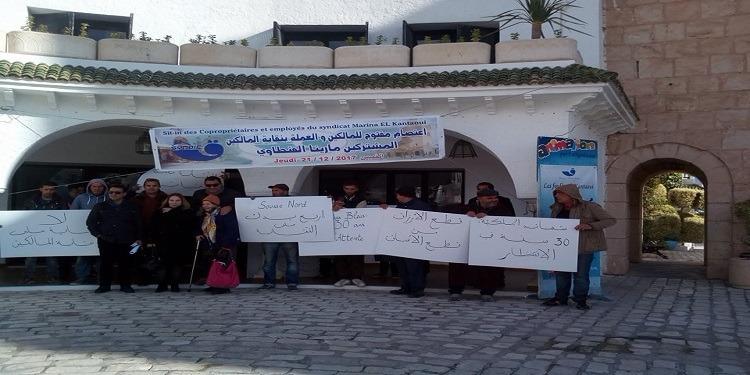 سوسة: عمال ومالكي نقابة ديار البحر في إعتصام مفتوح (صور)