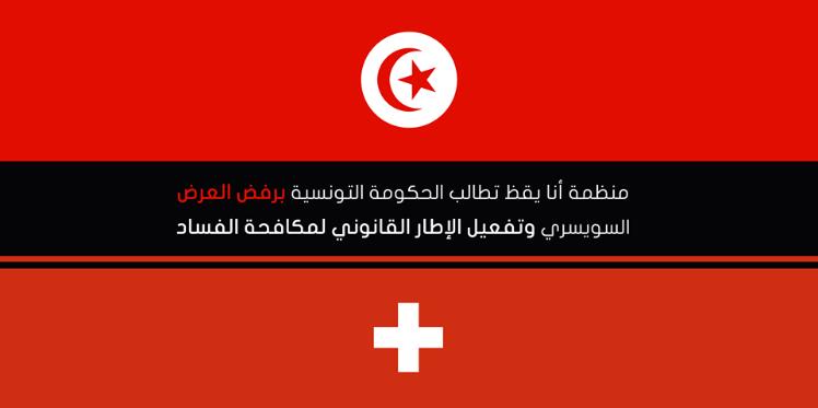 """منظمة """"أنا يقظ"""" تطالب الحكومة التونسية برفض العرض السويسري"""