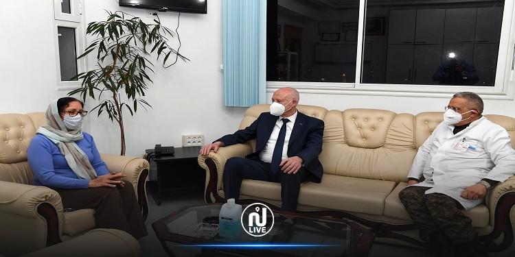 قيس سعيّد يعود الحبيب الصّيد بالمستشفى العسكري