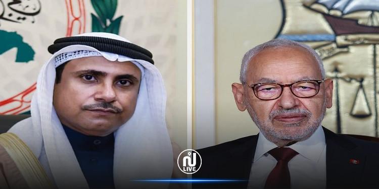 في اتصال هاتفي مع رئيس البرلمان العربي.. الغنّوشي  يدعو إلى توحيد الصف العربي ضدّ انتهاكات جيش الاحتلال