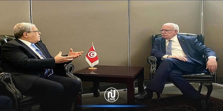 خلال لقائه بنظيره التونسي.. وزير الخارجية الفلسطيني يثمّن مواقف تونس الثابتة الداعمة للقضية الفلسطينية