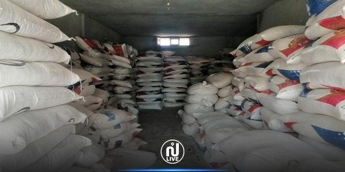 سيدي بوزيد: مداهمة مخزن عشوائي وحجز 39 طن من المواد المدعمة