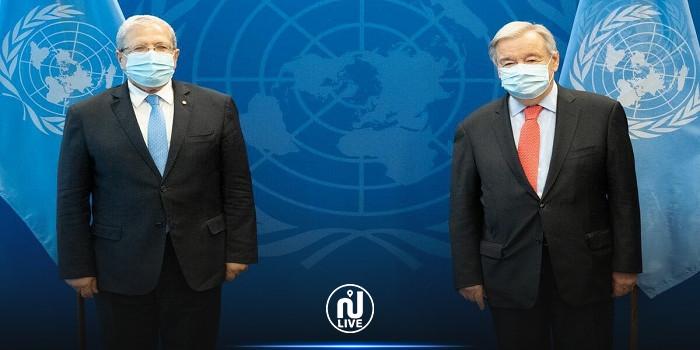 خلال لقائه بالجرندي.. غوتيريش يثني على الدور التونسي في دفع مسار التسوية السياسية في ليبيا