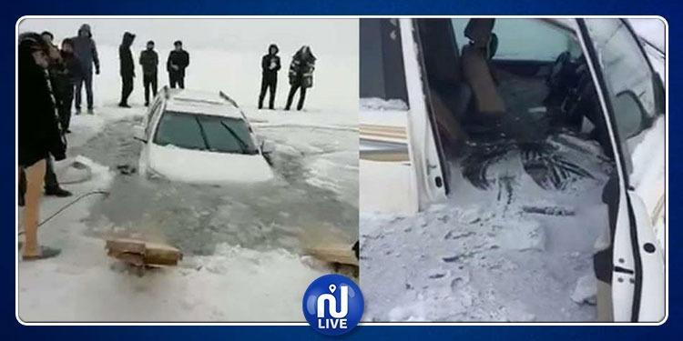 سيارة تمشي فوق نهر متجمد تتسبب في كارثة (فيديو)