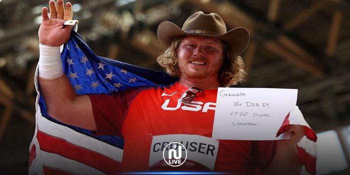 الأمريكي كراوزر يحطم الرقم الأولمبي في رمي الجلة