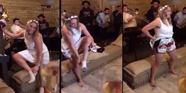 رقصة عروسين تتحول إلى مباراة ملاكمة ! (فيديو)